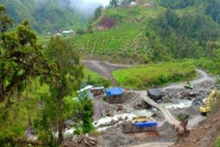 Lokasi pembangunan jembatan Kali Yigi-Kali Aurak, Distrik Yigi, Kabupaten Nduga