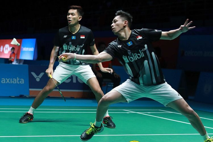 Fajar Alfian/Muhammad Rian Ardianto berlaga di Malaysia Open 2019, 4 April 2019.