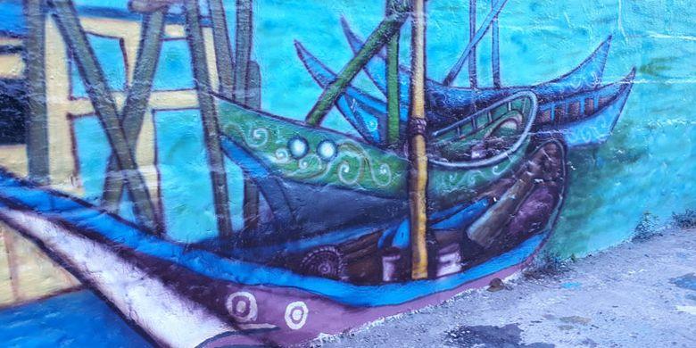Karya seni mural di tembok dinding sepanjang Sungai Rangda di Banjar Suwung Batan Kendal, Sesetan, Denpasar, Bali.