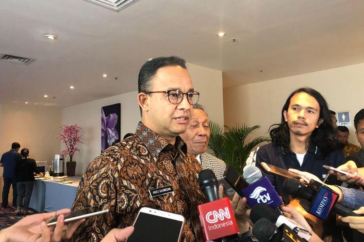 Gubernur DKI Jakarta Anies Baswedan di Hotel Four Points, Jalan M.H Thamrin, Kamis (12/7/2018).