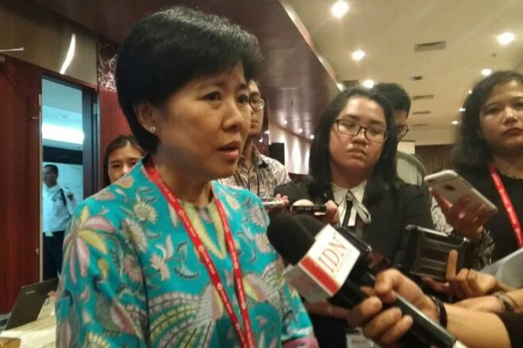 Presiden Direktur Bank OCBC NISP Parwati Surjaudjaja, di Kantor Pusat Bank OCBC NISP Jakarta, Senin (21/5/2018).
