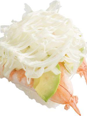 Ebi Avocado Sushi (120 yen sebelum pajak)