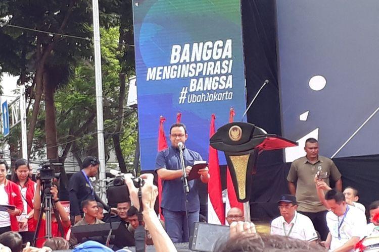 Gubernur DKI Jakarta Anies Baswedan dalam acara peresmian MRT Jakarta fase 1 di Bundaran HI, Jakarta Pusat, Minggu (24/3/2019).