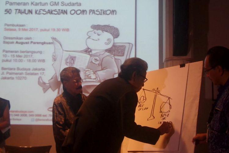 Pameran Kartun GM Sudarta: 50 Tahun Kesaksian Oom Pasikom di Bentara Budaya Jakarta, Jakarta Pusat, Selasa (9/5/2017) malam.