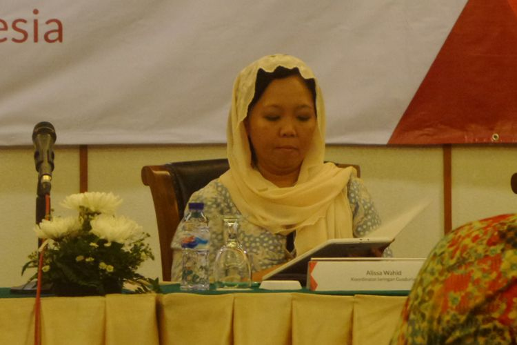 Koordinator Jaringan Gusdurian, Alissa Wahid dalam diskusi di Jakarta, Selasa (29/8/2017).