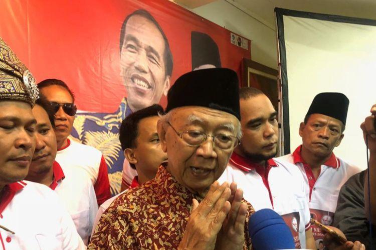 Pengasuh Pesantren Tebuireng, Jombang, Jawa Timur, KH Salahuddin Wahid atau Gus Sholah saat menghadiri deklarasi Pilpres 2019 damai di Gedung Djoang, Kamis (1/11/2018).