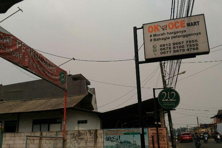Plang gudang OK OCE Mart di Pamulang Timur, Tangerang Selatan.