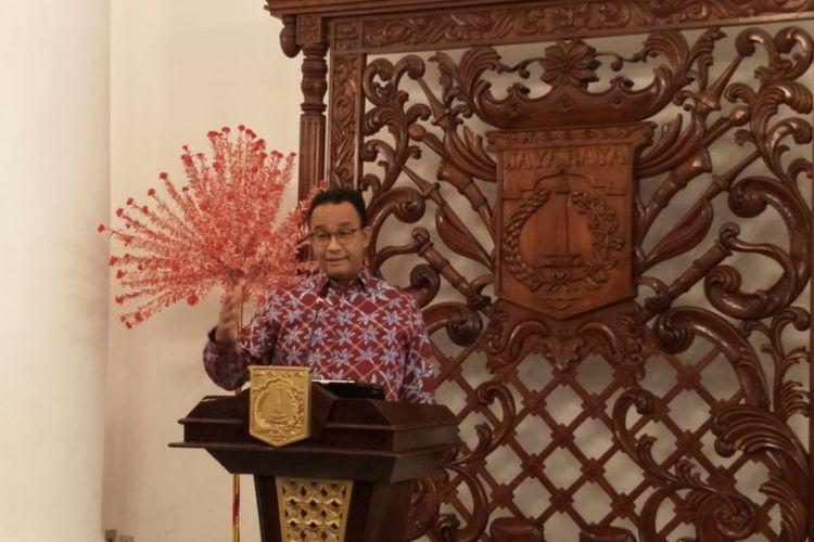 Gubernur DKI Jakarta Anies Baswedan di Balai Kota DKI Jakarta, Jalan Medan Merdeka Selatan, Senin (28/1/2019).