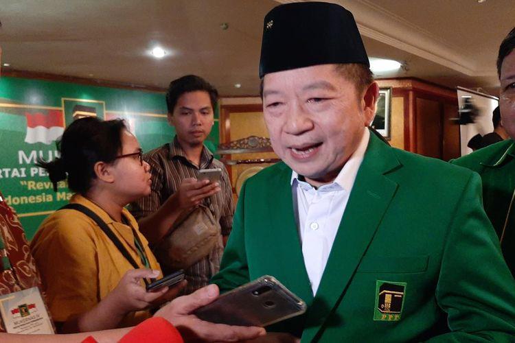 Plt Ketua Umum PPP Suharso Monoarfa di sela Musyawarah Kerja Nasional (Mukernas) PPP di Kota Serang, Banten, Jumat (19/7/2019).