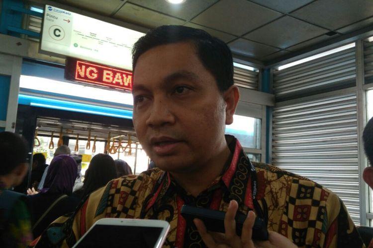 Direktur Operasional PT Transjakarta Daud Joseph di Halte Harmoni, Jakarta Pusat, Kamis (14/9/2017).