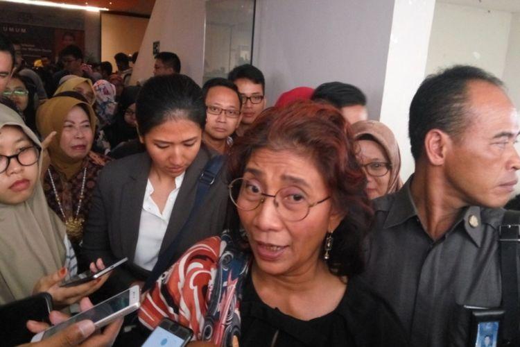 Menteri Kelautan dan Perikanan Susi Pudjiastuti saat ditemui di Kampus Universitas Indonesia, Depok, Selasa (17/10/2017).
