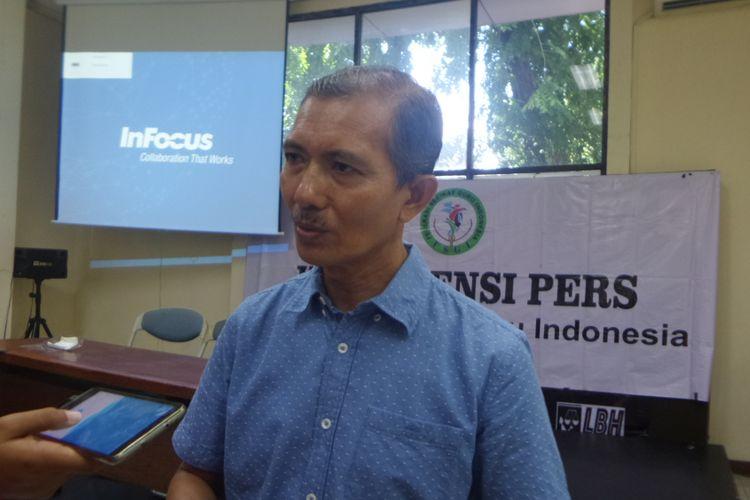 Sekjen FSGI Heru Purnomo di Kantor LBH Jakarta, Minggu (3/12/2017).