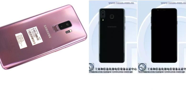 Galaxy S9 Plus (kiri) dengan kamera ganda tersusun vertikal di tengah, dan rumor Galaxy S9 Mini (kanan) dengan kamera ganda bergeser ke pinggir sebelah kanan mirip penempatan kamera ganda iPhone X.