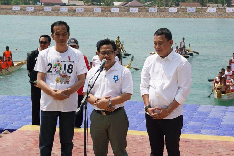 Ketua Umum Partai PKB saat mendeklarasikan dukungan resmi kepada Jokowi untuk maju dalam Pilpres 2019 di venue Dayung, Komplek Jakabaring Sport City (JSC) Palembang, Sumatera Selatan, Sabtu (14/7/2018)