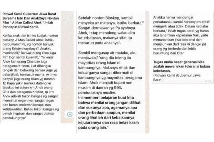 Pesan yang beredar di grup WhatsApp tentang nasihat Ridwan Kamil kepada Keluarganya terkait film A Man Called Ahok.(WhatsApp)