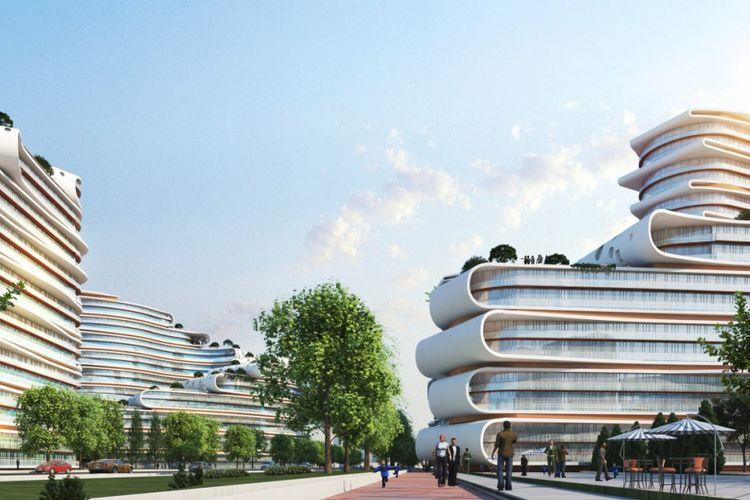 Bentuk bangunan yang menyerupai tanaman Baobab.