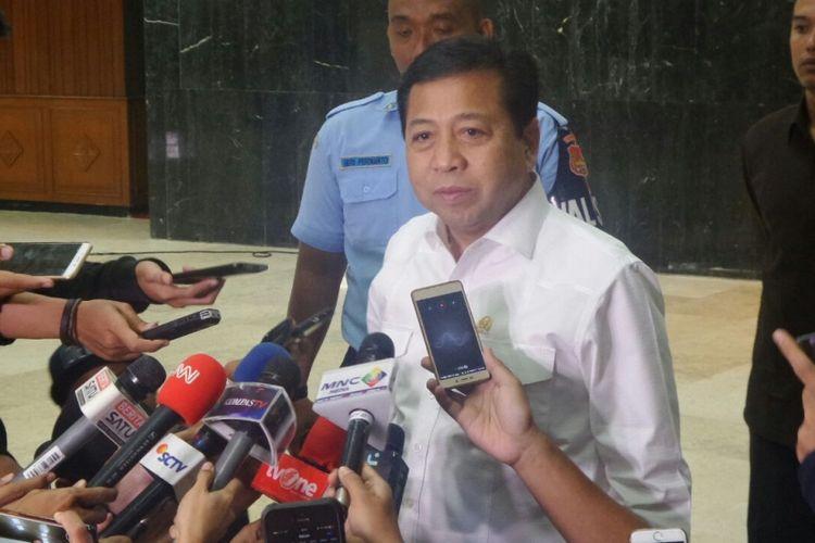 Ketua DPR RI Setya Novanto di Kompleks Parlemen, Senayan, Jakarta, Rabu (8/3/2017).