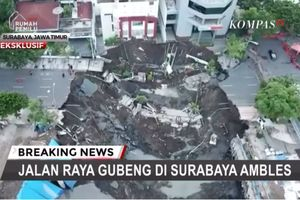 Begini Video Penampakan Jalan Gubeng yang Ambles via Drone