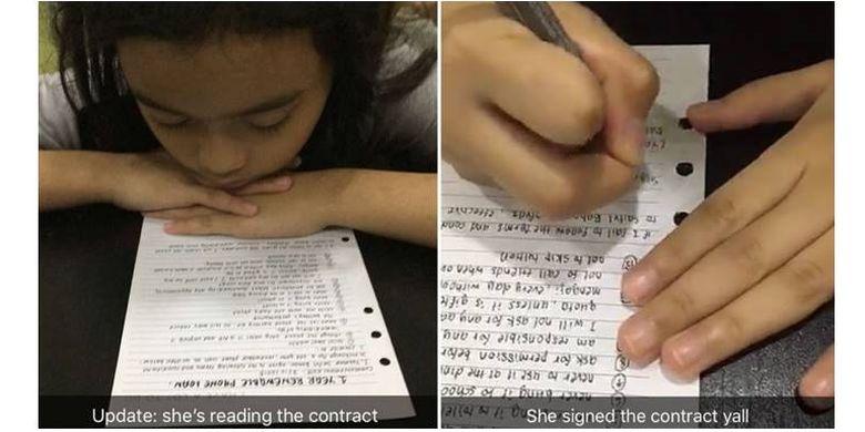 Yasmin (10) membaca dan menandatangani kontrak yang ia diskusikan bersama kedua orangtuanya sebagai syarat untuk mendapatkan Iphone terbaru.