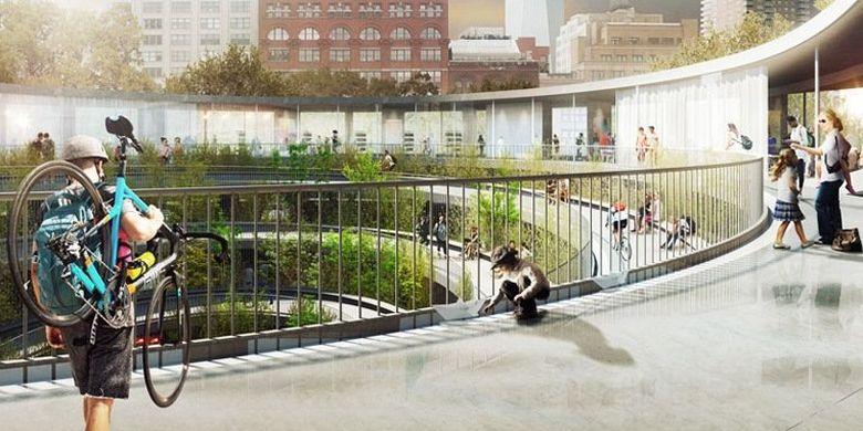 Ruang pejalan kaki dalam rancangan garasi futuristik oleh Third Nature