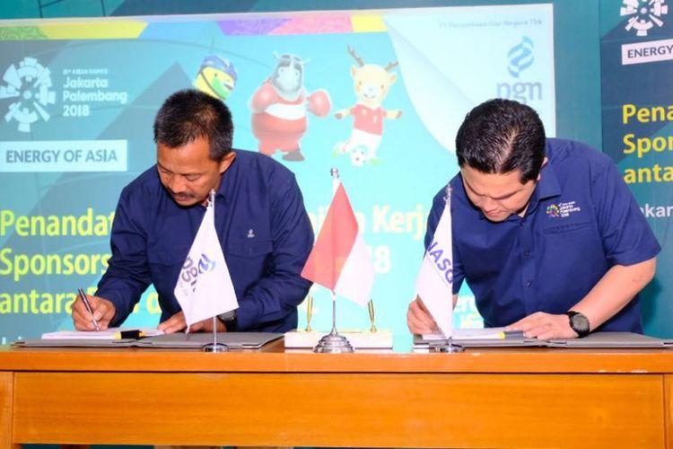 Direktur Utama PT PGN Tbk Jobi Triananda Hasjim dan Presiden INASGOC Erick Thohir menandatangani Perjanjian Kerjasama Sponsorship Asian Games 2018. PGN menyatakan kesiapan untuk mendukung pelaksanaan Asian Games 2018 mulai dari kegiatan promosi hingga acara pembukaan ajang olahraga terbesar di Asia tersebut.