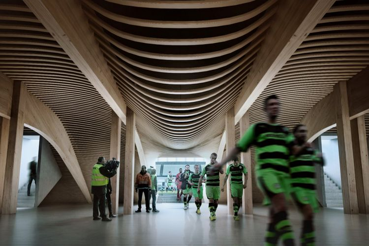 Forest Green Rover Eco Park Stadium, stadion yang akan dibangun dengan bahan kayu. Design by Zaha Hadid Architect with Patrick Schumacher