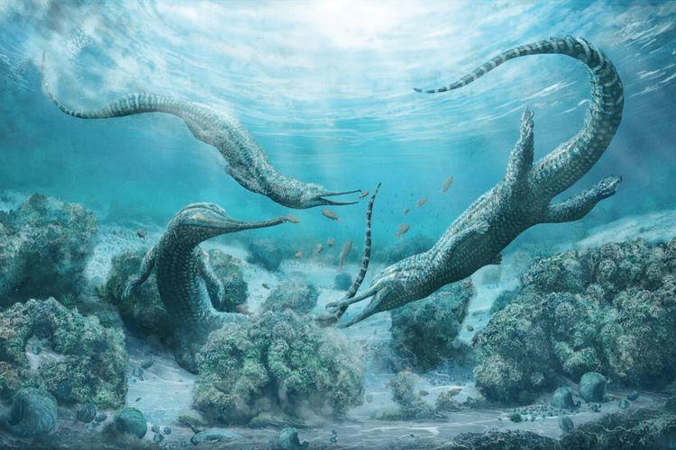 Ilustrasi dari spesies phytosaurus yang baru ditemukan, Mystriosuchus steinbergeri. Binatang mirip buaya ini hidup 210 juta tahun yang lalu di tempat yang sekarang bernama Austria.