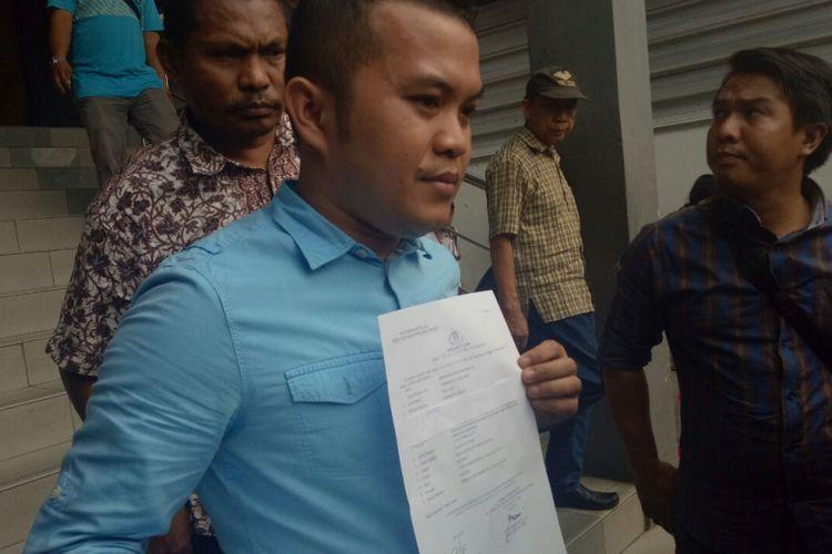 Zakir Rasyidin seusai membuat laporan polisi di Mapolda Metro Jaya.
