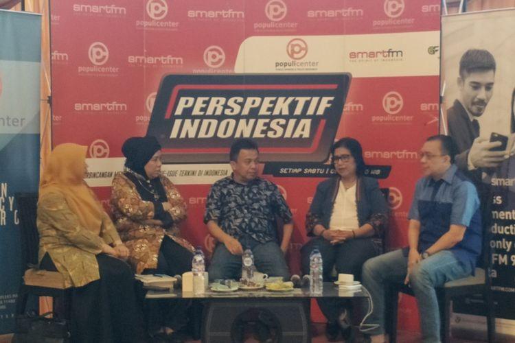 Diskusi Populi Center dan Smart FM Network di kawasan Menteng, Jakarta Pusat, Sabtu (14/7/2018).