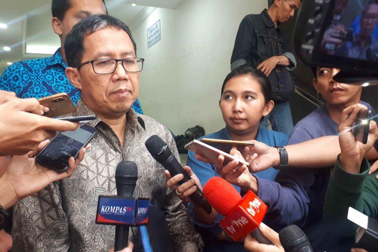 Mantan Plt Ketua Umum PSSI Joko Driyono (Jokdri) di Polda Metro Jaya, Jumat (22/2/2019).