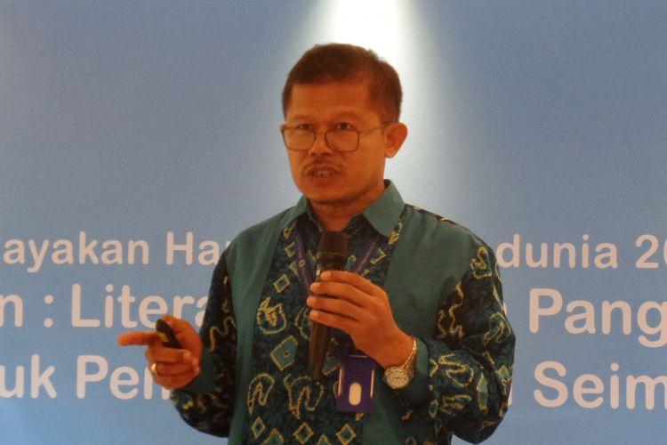 Guru Besar Bidang Keamanan Pangan dan Gizi Fakultas Ekologi IPB Prof Ir Ahmad Sulaeman, MS, PhD dalam acara diskusi di Gran Mahakam Hotel, Jakarta, Jumat (12/10/2018).