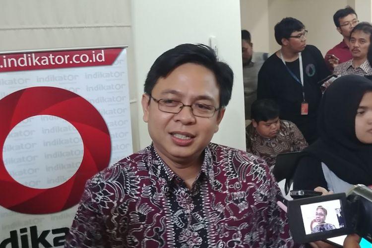 Direktur Eksekutif Indikator Politik Burhanuddin Muhtadi di Jakarta, Rabu (11/10/2017).