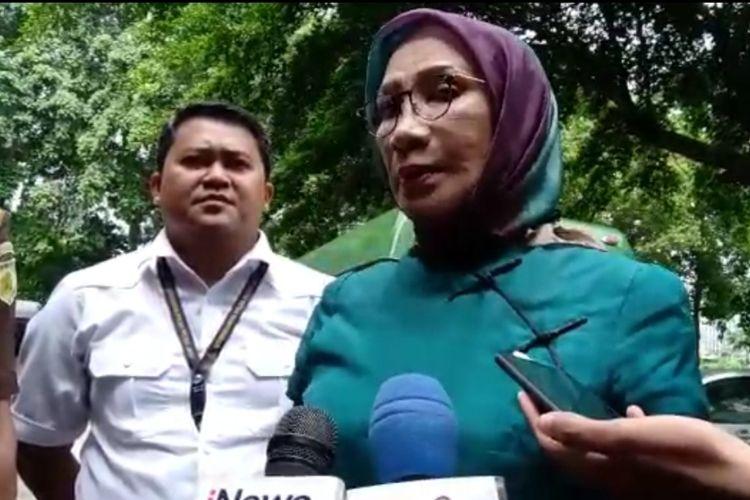 Terdakwa kasus penyebaran berita bohong atau hoaksRatna Sarumpaet di Polda Metro Jaya, Selasa (19/3/2019).