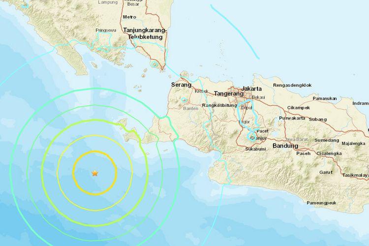 Peta lokasi gempa di perairan Banten, Jumat (2/8/2019) malam.