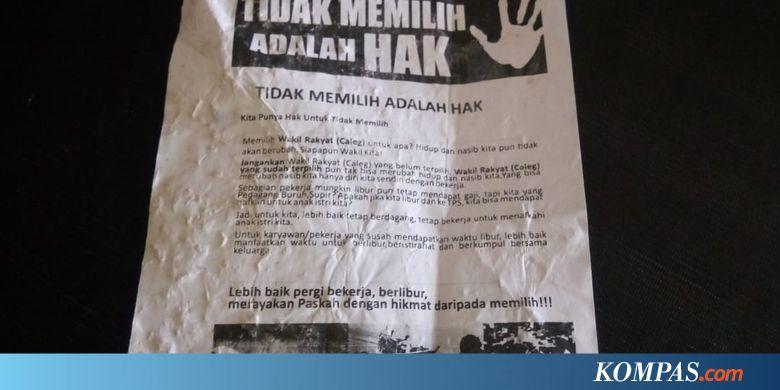 Viral Selebaran Berisi Ajakan Golput di Makassar, Ini Kata Bawaslu