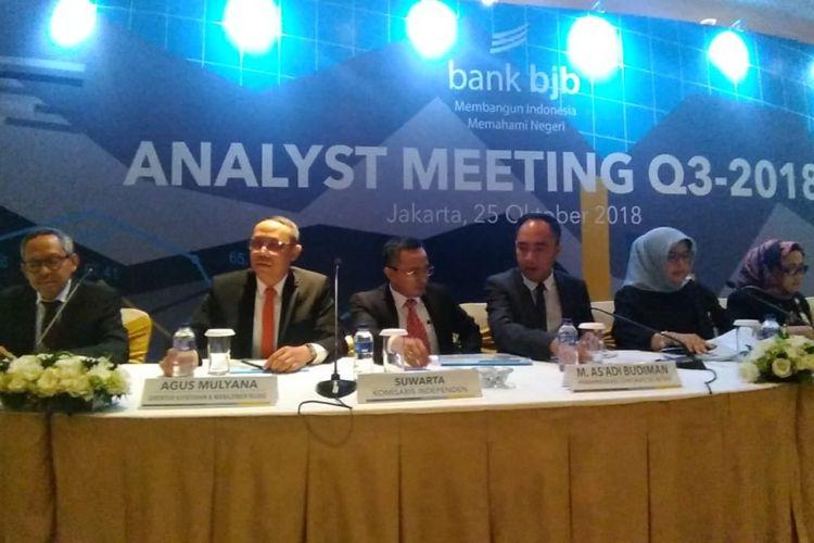 Jajaran direksi Bank BJB dalam analys meeting di Jakarta, Kamis (15/10/2018).