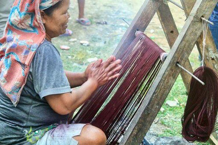 Pembuatan kain ulos. Kain Ulos merupakan kain tenun khas Batak yang sangat cantik, biasanya dipakai pada acara adat atau keagamaan.