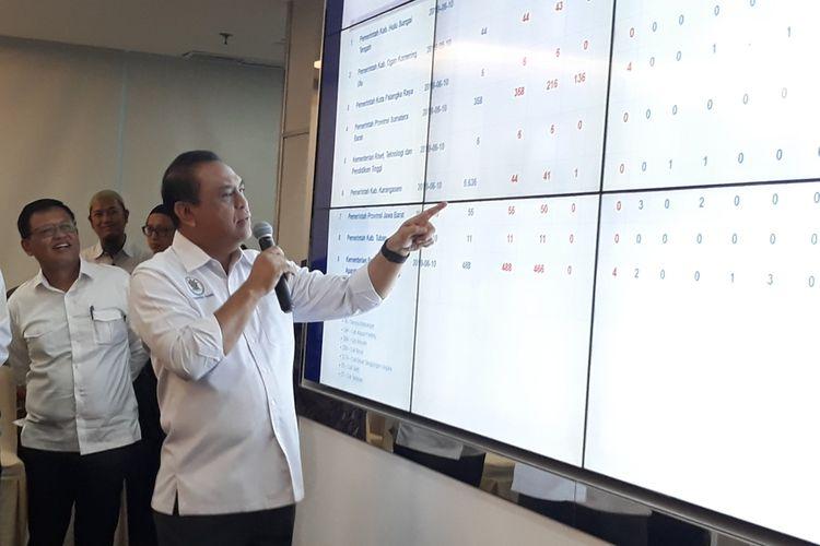 Menteri Pendayagunaan Aparatur Negara dan Reformasi Birokrasi (MenPAN RB) Syafruddin di Gedung KemenPAN RB, Jakarta Selatan.