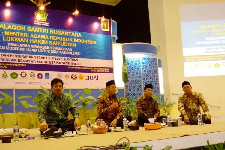 Menteri Agama Lukman Hakim Saifuddin saat menghadiri acara Halaqoh Santri Nusantara di Universitas Islam Negeri (UIN) Sunan Kalijaga, Rabu (28/3/2018).