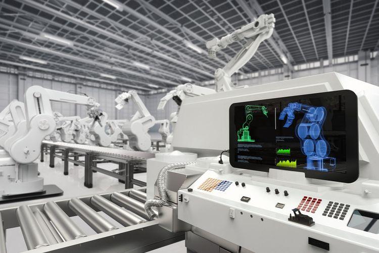 Ilustrasi robot yang menggantikan fungsi manusia.