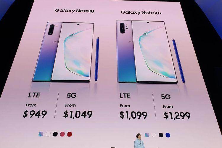 Harga Samsung Galaxy Note 10 dibanderol mulai 949 dollar AS (sekitar Rp 13 juta) hingga 1.299 dollar AS.