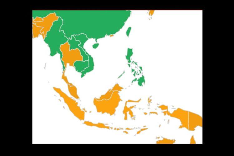 Peta negara ASEAN dengan posisi setir kemudi. Warna kuning mengacu pada negara-negara yang menerapkan setir kanan. Sedangkan hijau menerapkan setir kiri.
