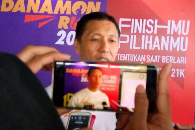 Bancassurance Head PT Bank Danamon Tbk (Danamon) Paulus Budiharja saat peluncuran Danamon Run 2019 di Jakarta, Kamis (15/8/2019). Perhelatan Danamon Run 2019 berlangsung pada Minggu (10/11/2019) di ICE Bumi Serpong Damai.
