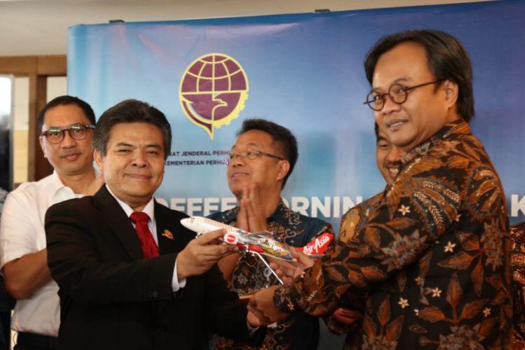 Direktur Jenderal Perhubungan Udara Kementerian Perhubungan Agus Santoso saat coffee morning&breakfast meeting di Tangerang, Selasa (24/7/2018