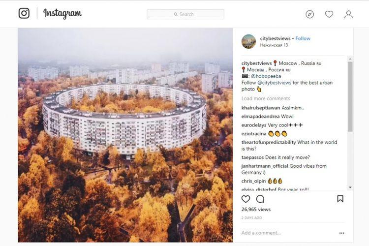 Gambar apartemen yang diunggah akun Instagram @citybestviews ini terlihat dapat berputar. Namun rupanya gambar tersebut hanya animasi dari sebuah bangunan lama yang telah dibangun sejak 1972.