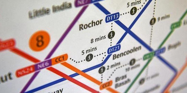 Peta baru MRT Singapura dilengkapi dengan informasi waktu jalan kaki.