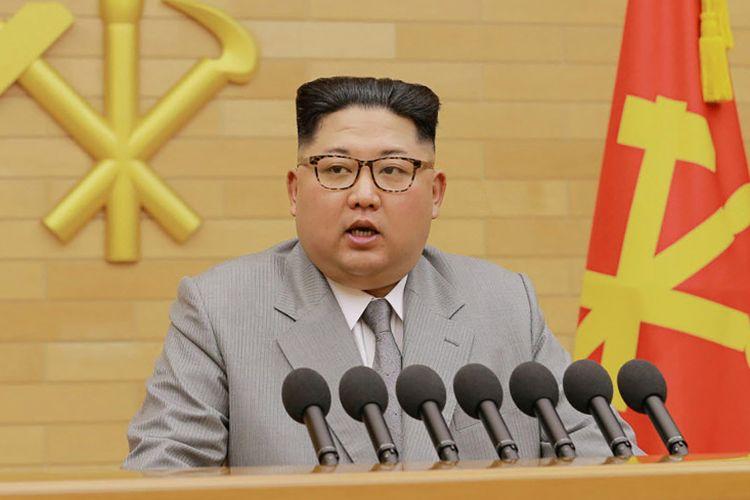 Kim Jong Un saat pidato tahun baru