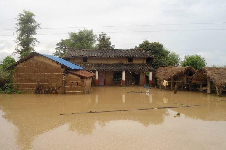 Ilustrasi banjir di Nepal