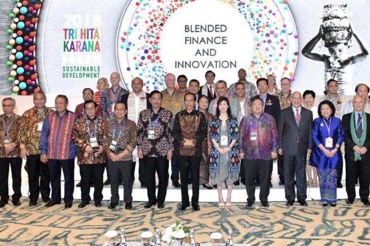 Presiden Joko Widodo dalam Tri Hita Karanan Sustainable Development Forum di Nusa Dua, Bali, Kamis (11/10/2018).