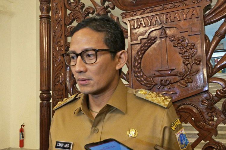 Wakil Gubernur DKI Jakarta Sandiaga Uno di Balai Kota DKI Jakarta, Jalan Medan Merdeka Selatan, Senin (11/12/2017).